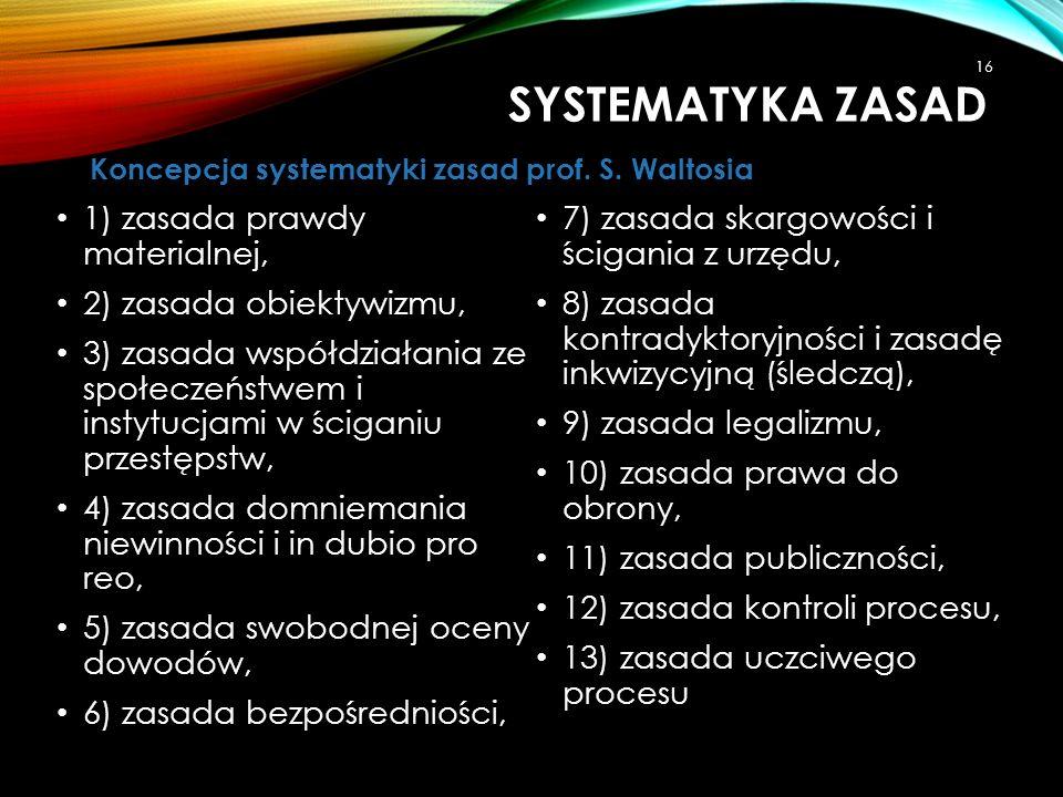Systematyka zasad 1) zasada prawdy materialnej,