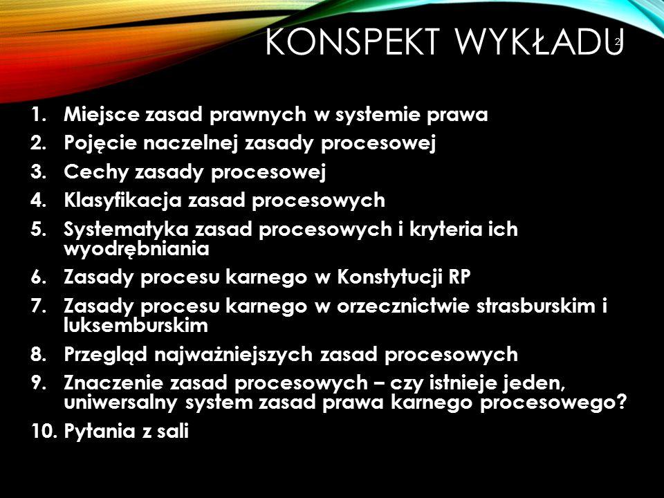 Konspekt wykładu Miejsce zasad prawnych w systemie prawa