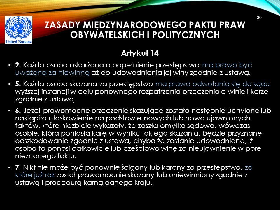 Zasady Międzynarodowego Paktu praw obywatelskich i politycznych