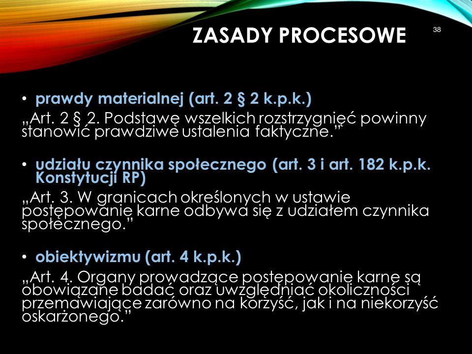 ZASADY PROCESOWE prawdy materialnej (art. 2 § 2 k.p.k.)
