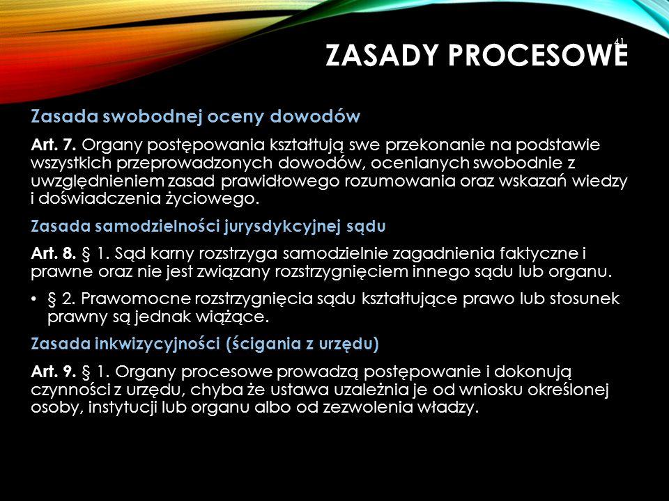 ZASADY PROCESOWE Zasada swobodnej oceny dowodów