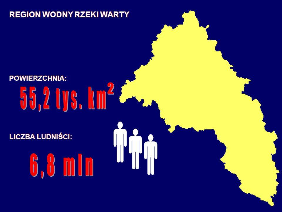 2 55,2 tys. km 6,8 mln REGION WODNY RZEKI WARTY POWIERZCHNIA: