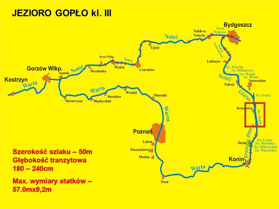 JEZIORO GOPŁO kl. III Szerokość szlaku – 50m Głębokość tranzytowa 180 – 240cm.