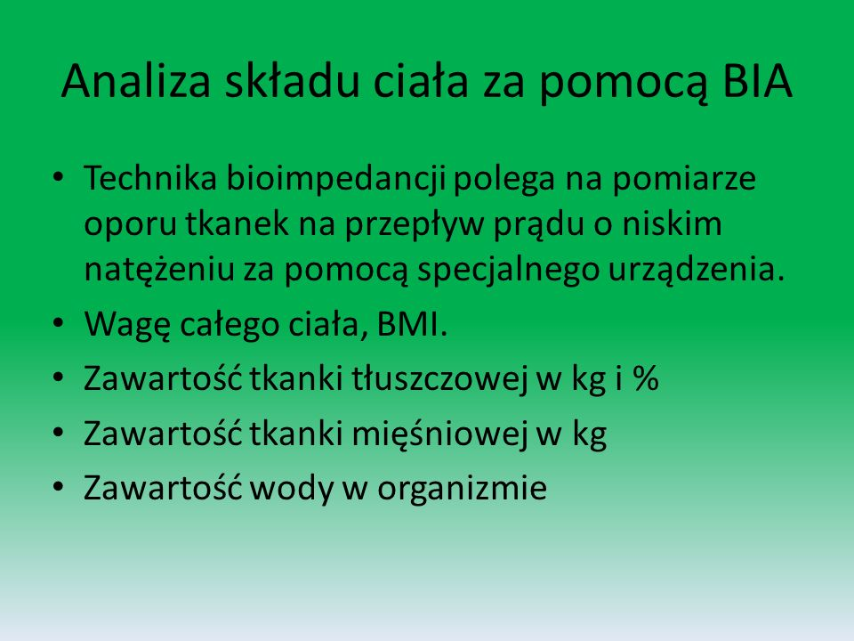 Analiza składu ciała za pomocą BIA