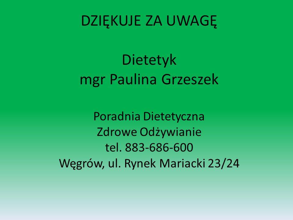 DZIĘKUJE ZA UWAGĘ Dietetyk mgr Paulina Grzeszek Poradnia Dietetyczna Zdrowe Odżywianie tel.