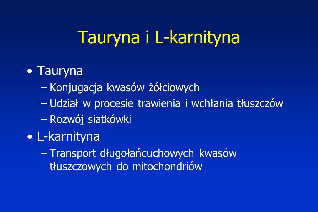 Tauryna i L-karnityna Tauryna L-karnityna Konjugacja kwasów żółciowych