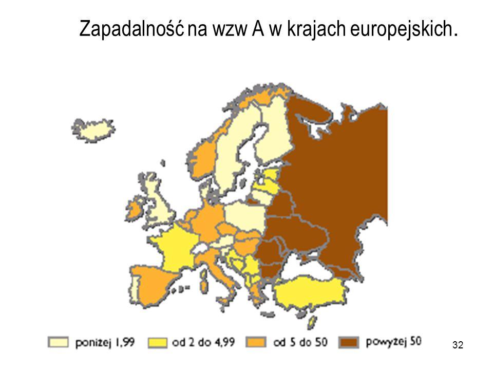 Zapadalność na wzw A w krajach europejskich.