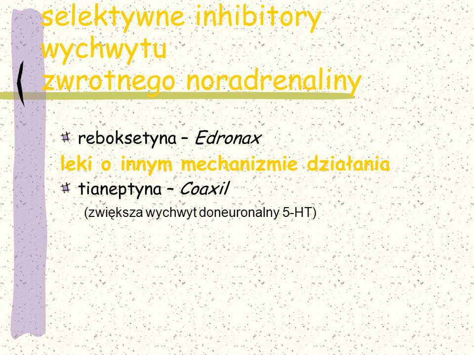 selektywne inhibitory wychwytu zwrotnego noradrenaliny