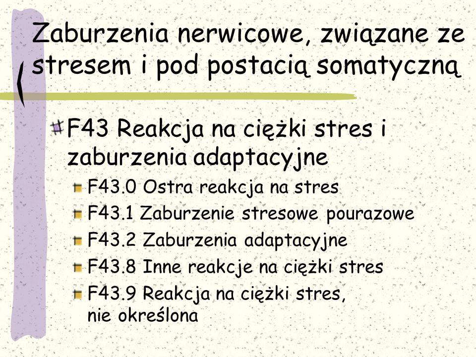Zaburzenia nerwicowe, związane ze stresem i pod postacią somatyczną