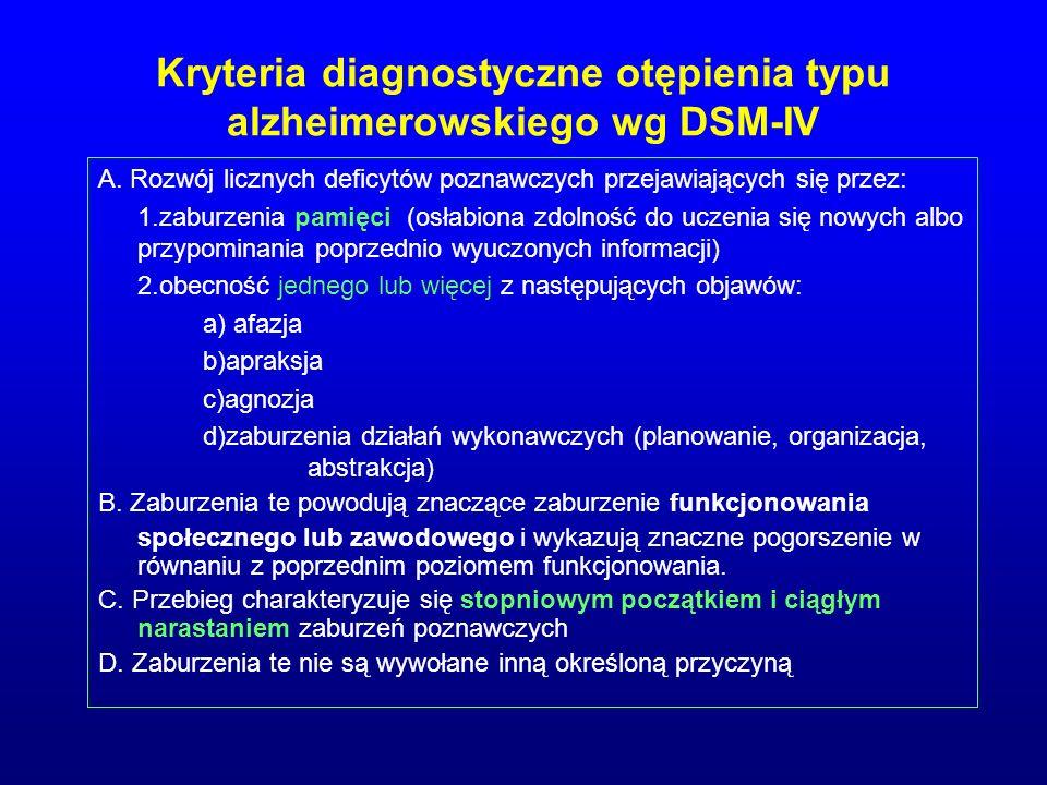 Kryteria diagnostyczne otępienia typu alzheimerowskiego wg DSM-IV