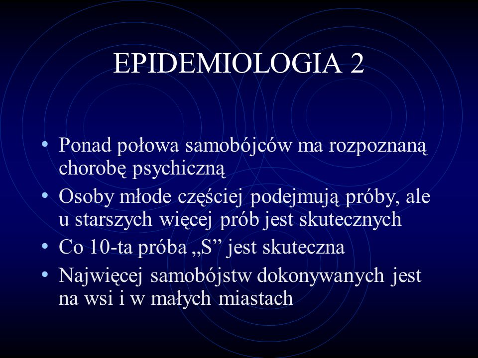 EPIDEMIOLOGIA 2 Ponad połowa samobójców ma rozpoznaną chorobę psychiczną.