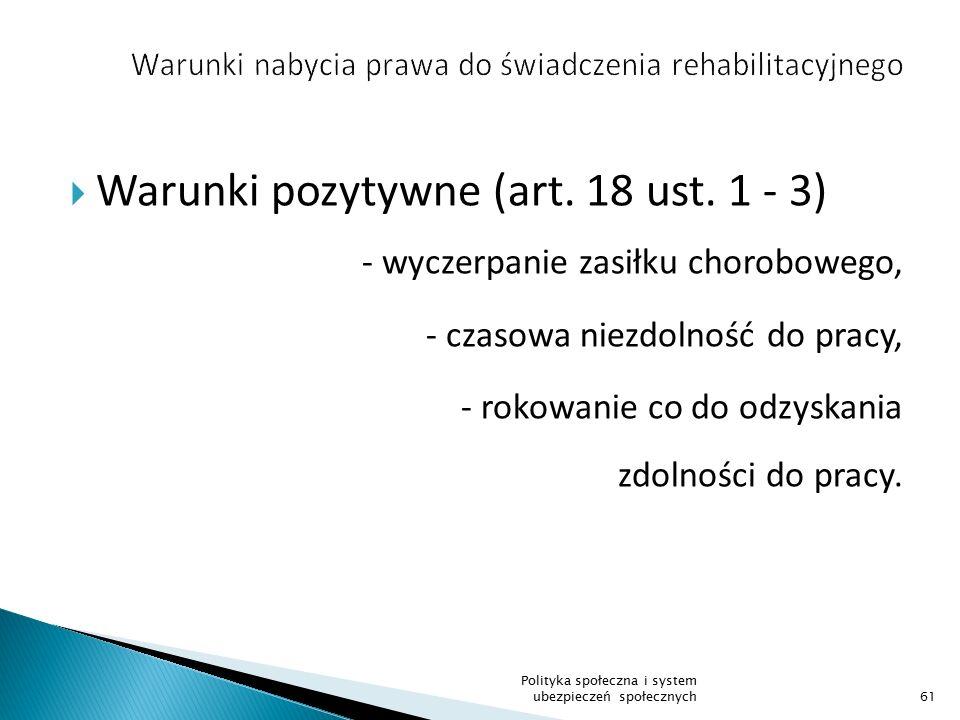 Warunki nabycia prawa do świadczenia rehabilitacyjnego