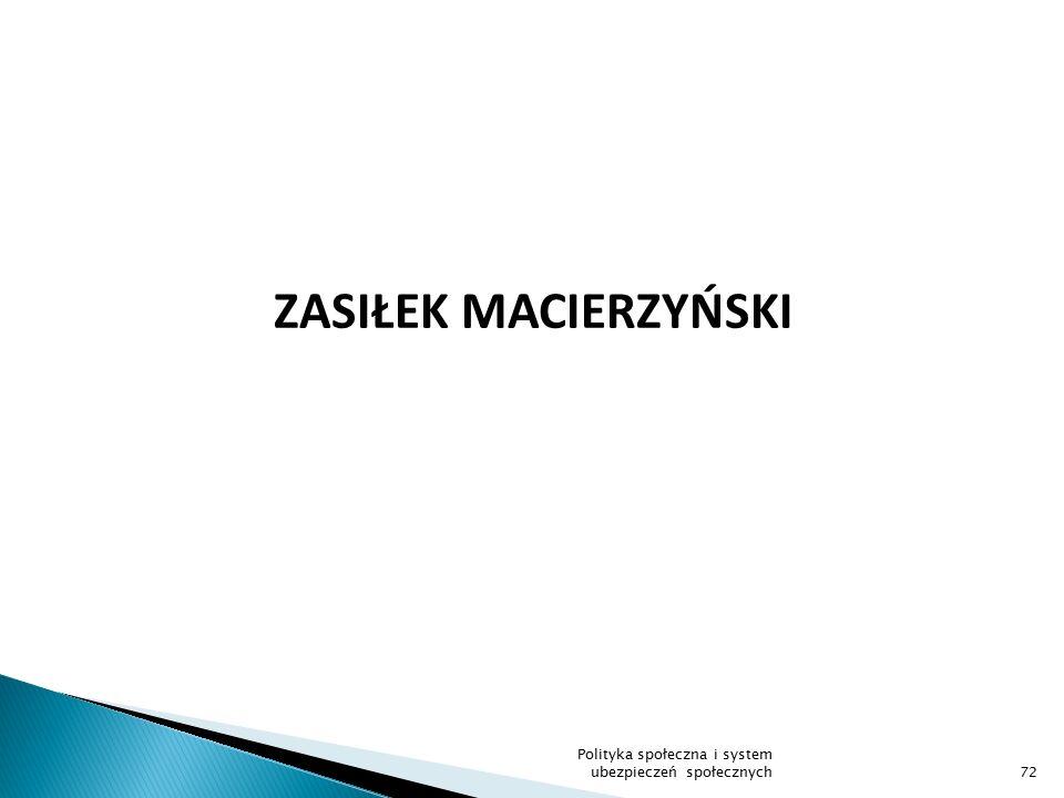 ZASIŁEK MACIERZYŃSKI Polityka społeczna i system ubezpieczeń społecznych
