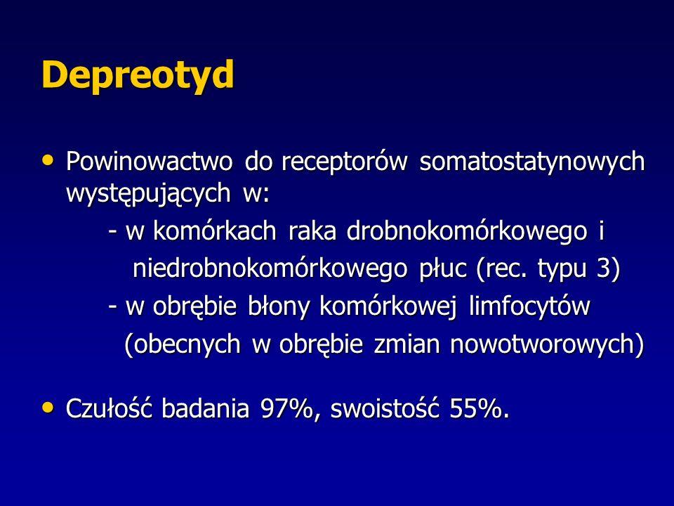 Depreotyd Powinowactwo do receptorów somatostatynowych występujących w: - w komórkach raka drobnokomórkowego i.