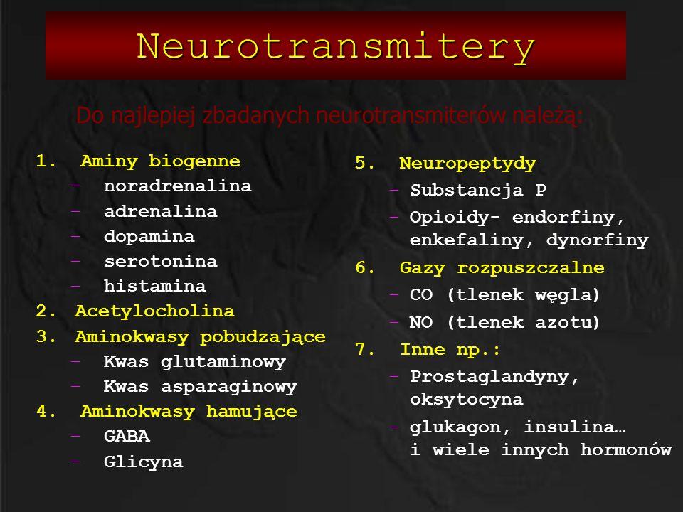 Do najlepiej zbadanych neurotransmiterów należą: