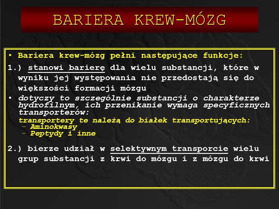 BARIERA KREW-MÓZG Bariera krew-mózg pełni następujące funkcje: