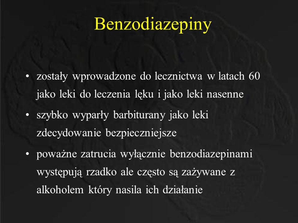 Benzodiazepiny zostały wprowadzone do lecznictwa w latach 60 jako leki do leczenia lęku i jako leki nasenne.