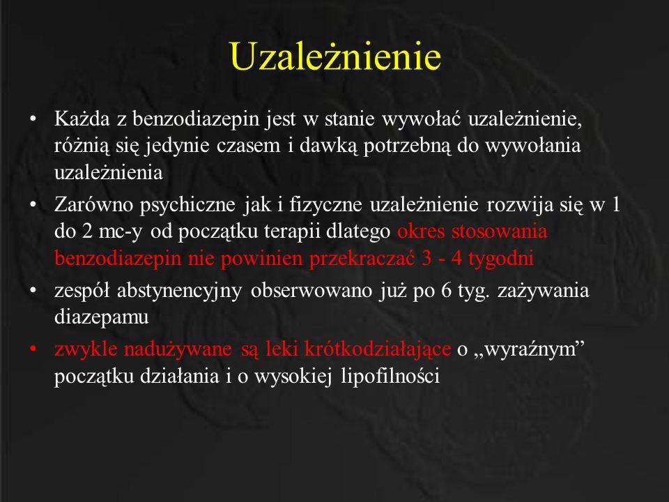 Uzależnienie Każda z benzodiazepin jest w stanie wywołać uzależnienie, różnią się jedynie czasem i dawką potrzebną do wywołania uzależnienia.
