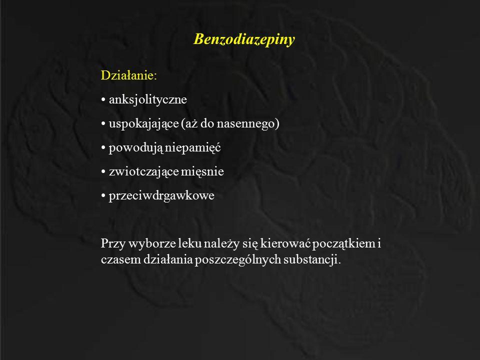 Benzodiazepiny Działanie: anksjolityczne