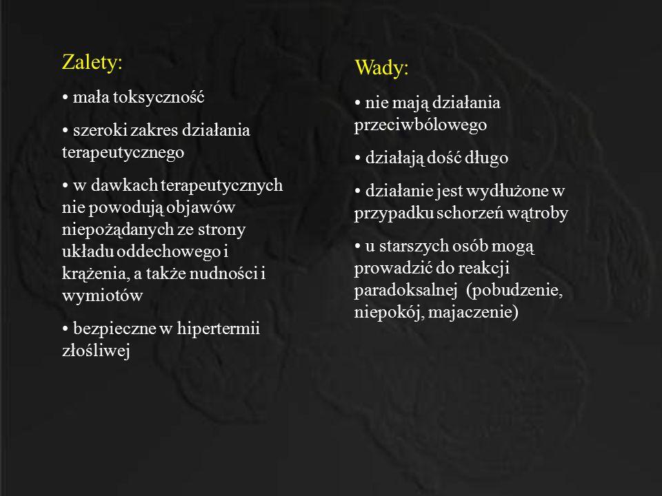Zalety: Wady: mała toksyczność nie mają działania przeciwbólowego