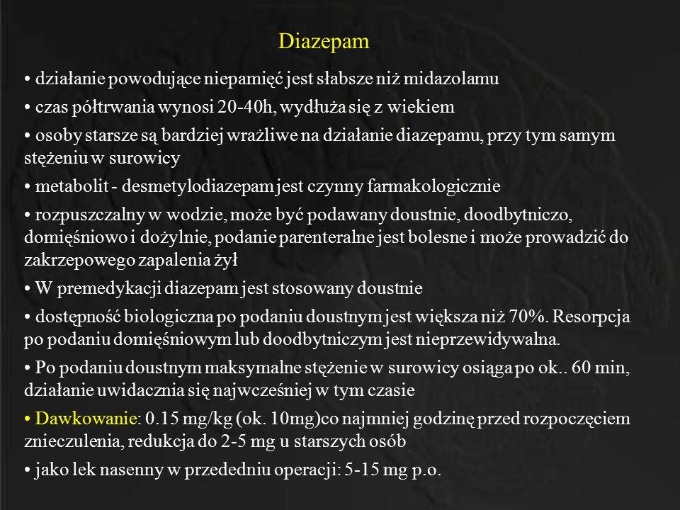 Diazepam działanie powodujące niepamięć jest słabsze niż midazolamu