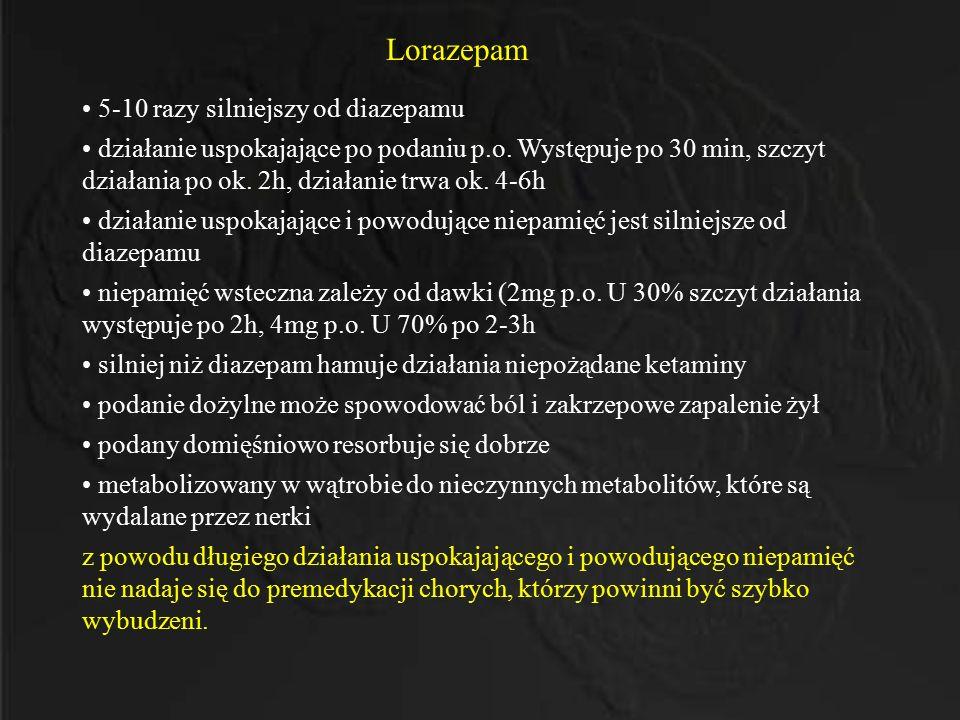 Lorazepam 5-10 razy silniejszy od diazepamu