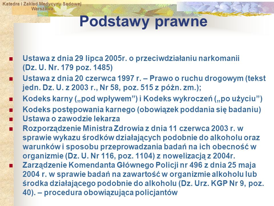 Podstawy prawne Ustawa z dnia 29 lipca 2005r. o przeciwdziałaniu narkomanii (Dz. U. Nr. 179 poz. 1485)