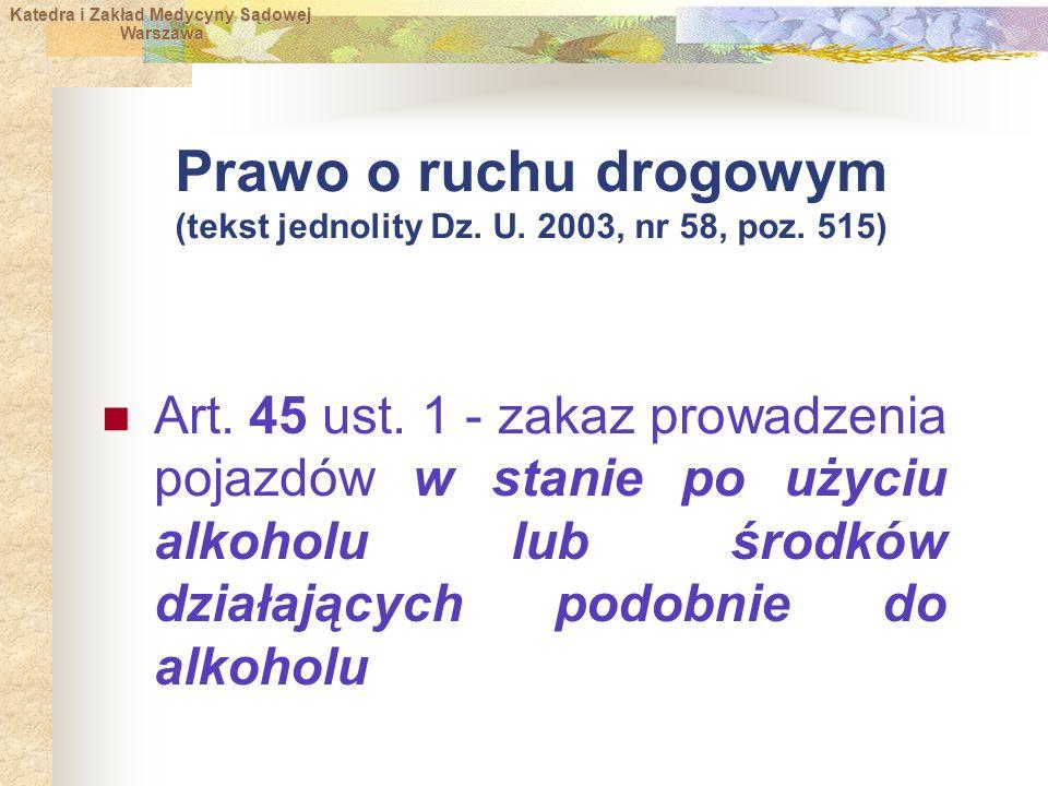 Prawo o ruchu drogowym (tekst jednolity Dz. U. 2003, nr 58, poz. 515)