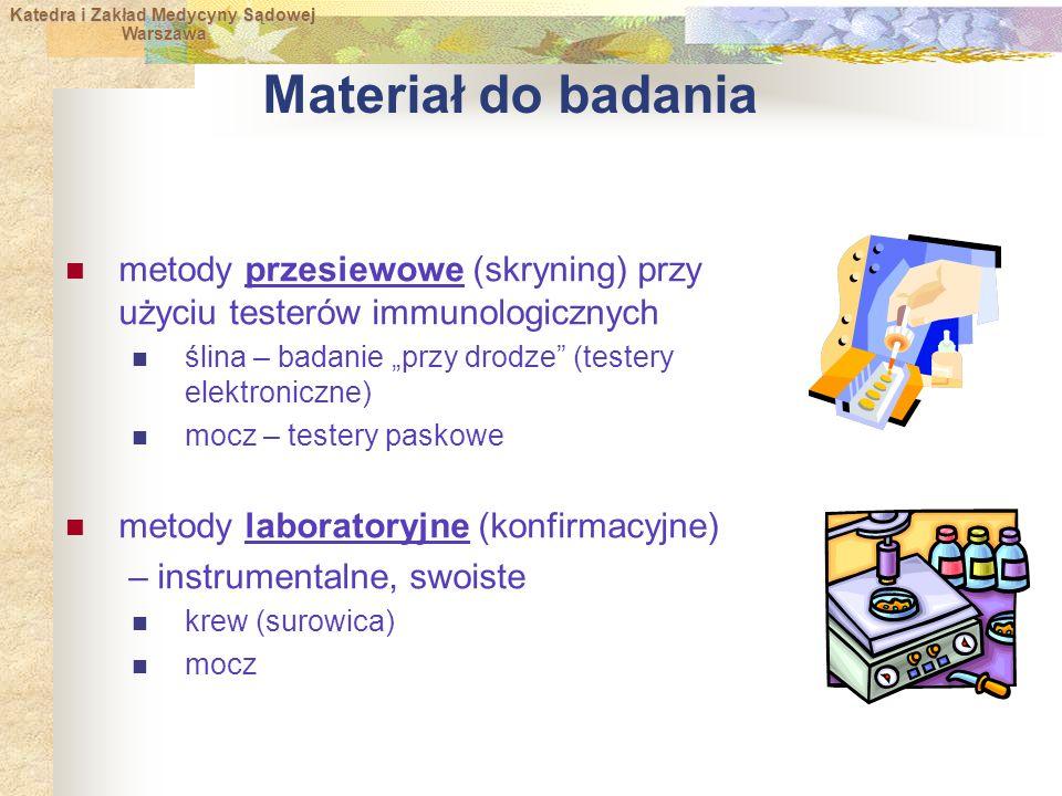 """Materiał do badania metody przesiewowe (skryning) przy użyciu testerów immunologicznych. ślina – badanie """"przy drodze (testery elektroniczne)"""