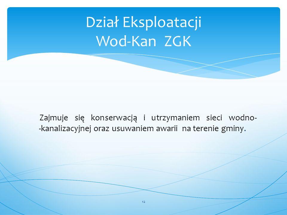Dział Eksploatacji Wod-Kan ZGK
