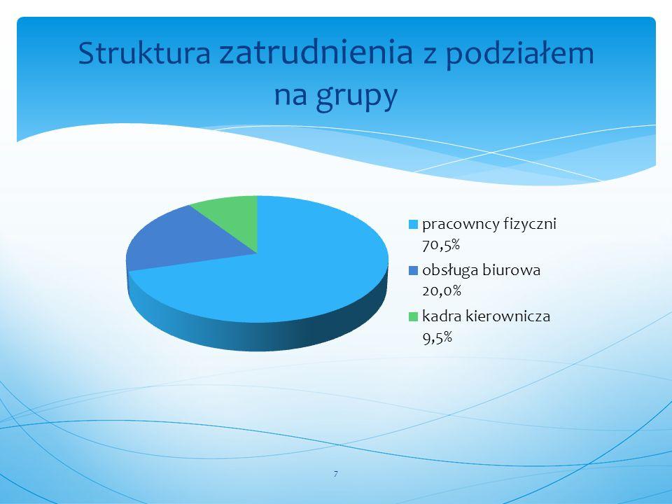 Struktura zatrudnienia z podziałem na grupy
