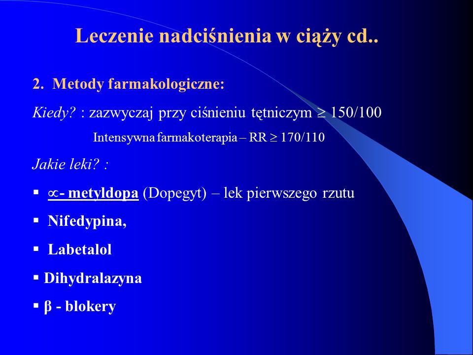 Leczenie nadciśnienia w ciąży cd..
