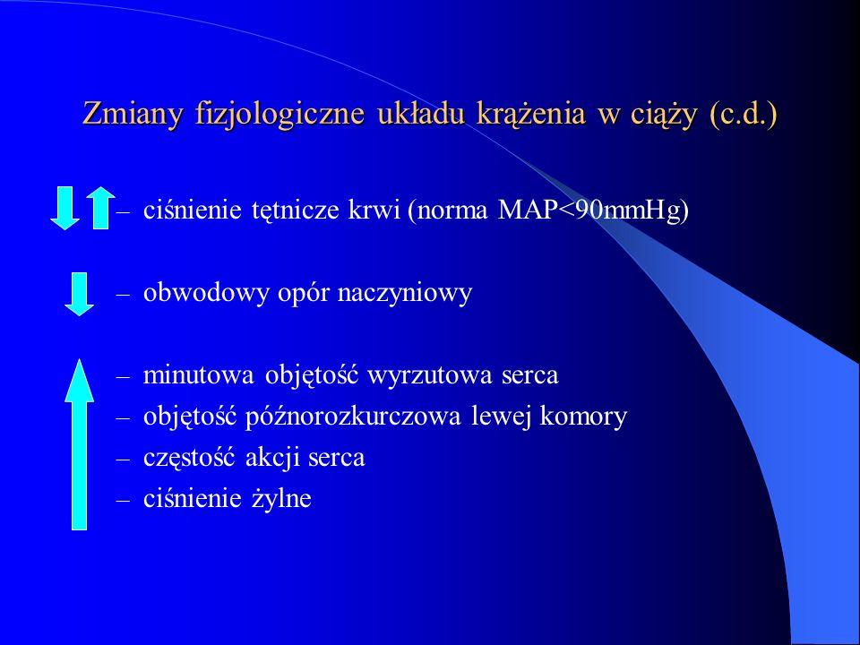 Zmiany fizjologiczne układu krążenia w ciąży (c.d.)