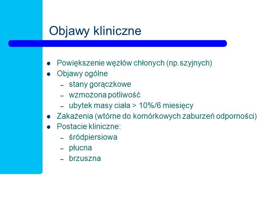 Objawy kliniczne Powiększenie węzłów chłonych (np.szyjnych)