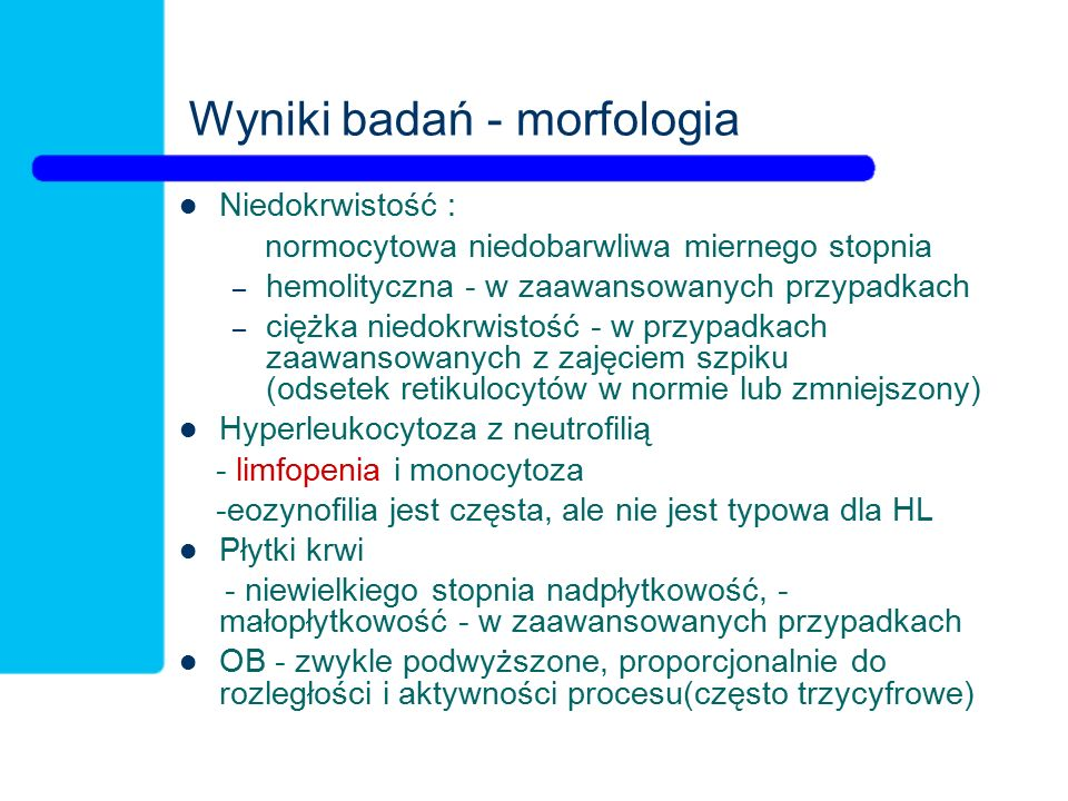 Wyniki badań - morfologia
