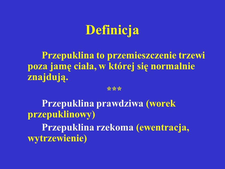 Definicja Przepuklina to przemieszczenie trzewi poza jamę ciała, w której się normalnie znajdują. ***
