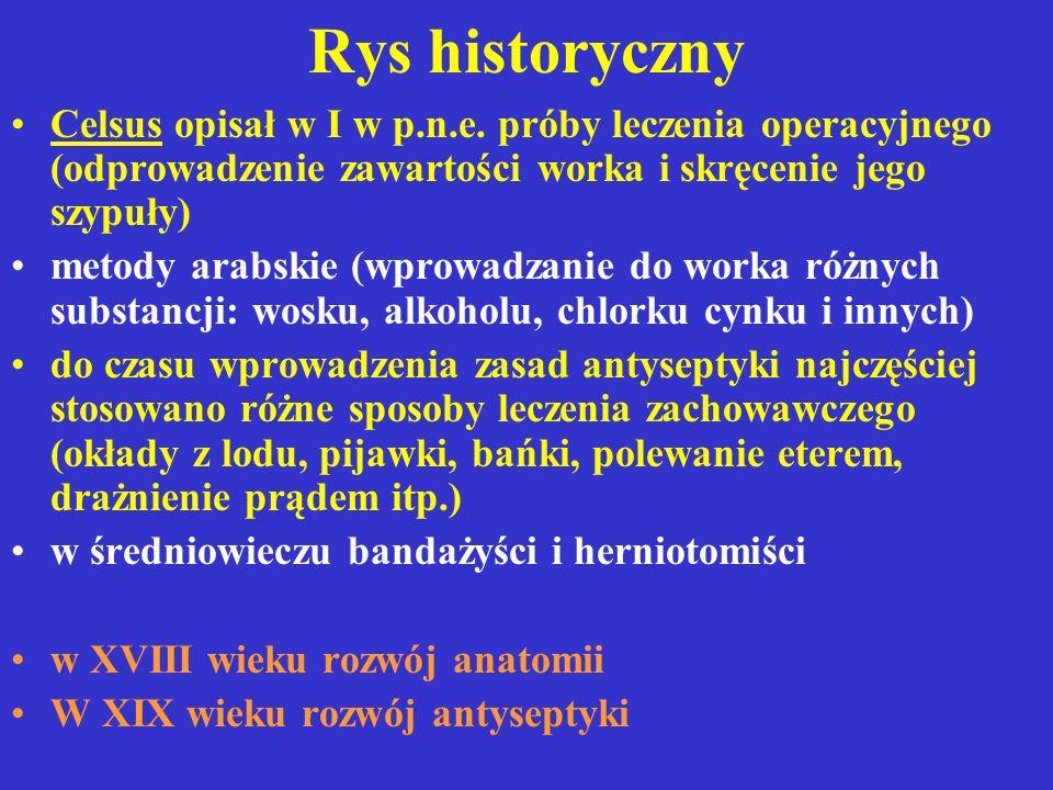 Rys historyczny Celsus opisał w I w p.n.e. próby leczenia operacyjnego (odprowadzenie zawartości worka i skręcenie jego szypuły)