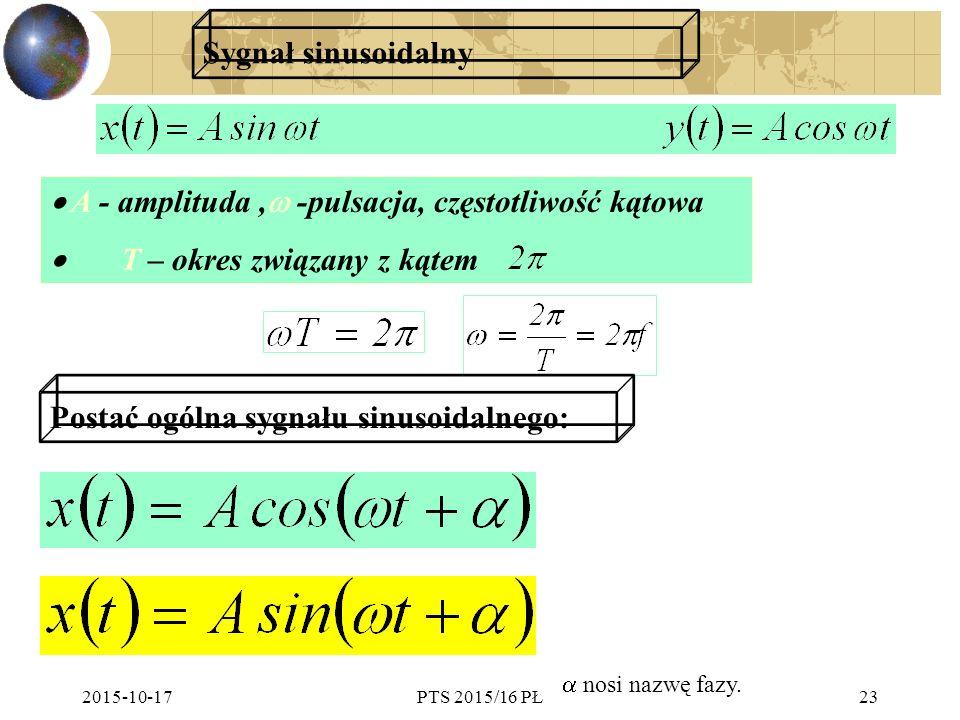 · A - amplituda , -pulsacja, częstotliwość kątowa