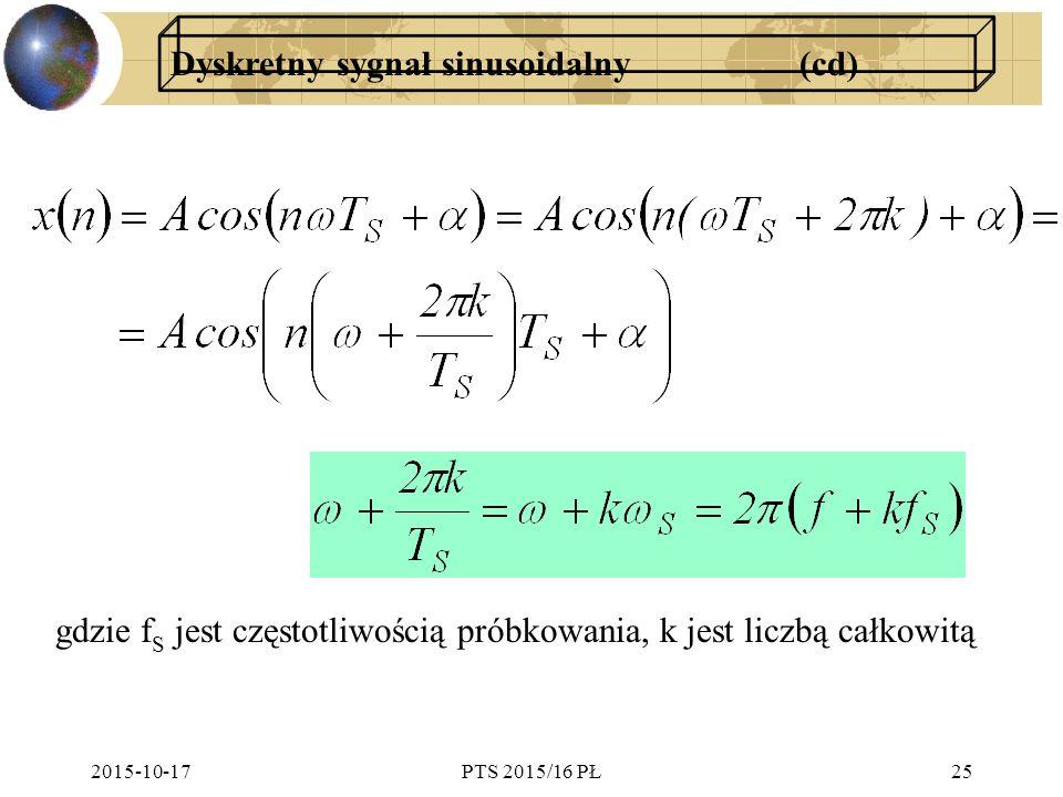 Dyskretny sygnał sinusoidalny (cd)