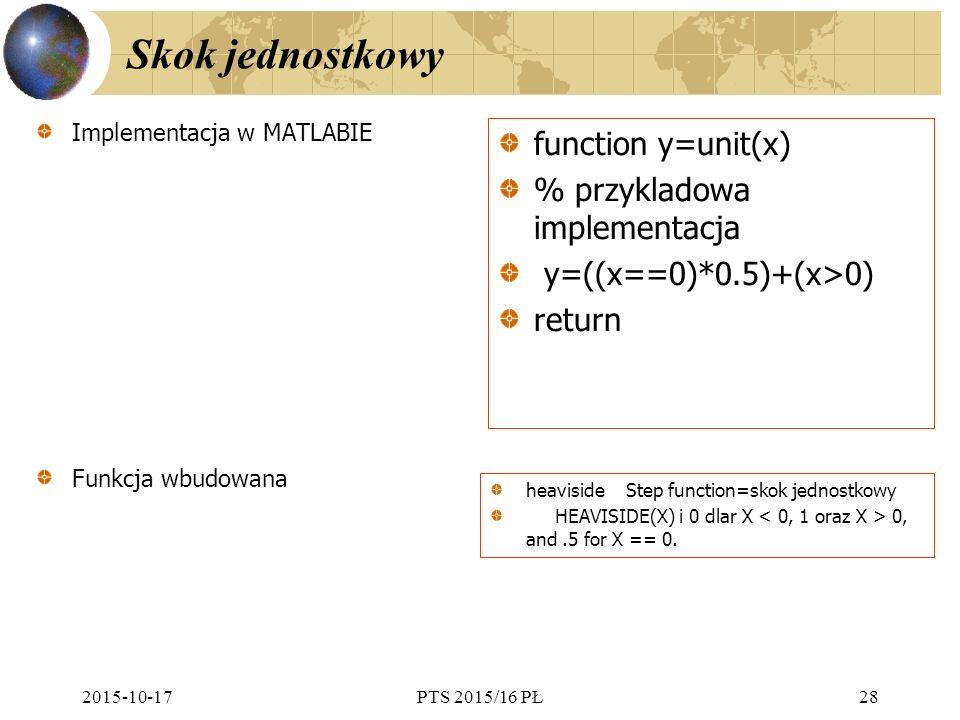 Skok jednostkowy function y=unit(x) % przykladowa implementacja