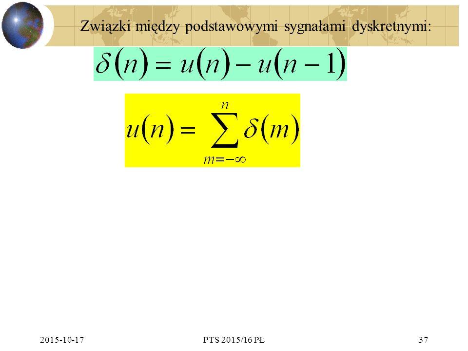 Związki między podstawowymi sygnałami dyskretnymi: