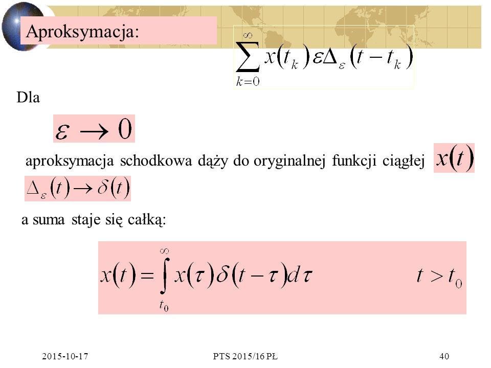 Aproksymacja: Dla. aproksymacja schodkowa dąży do oryginalnej funkcji ciągłej. a suma staje się całką: