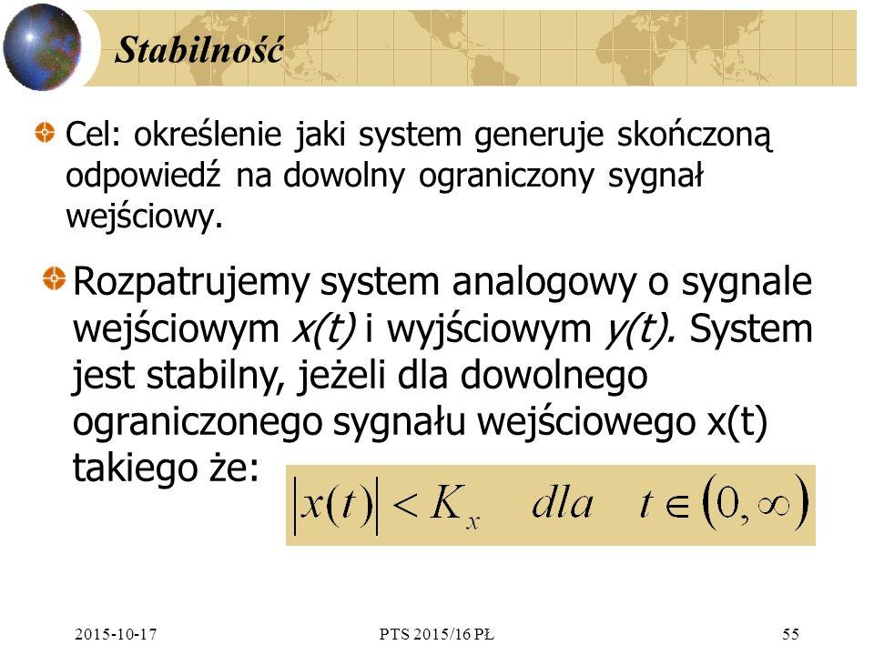 Stabilność Cel: określenie jaki system generuje skończoną odpowiedź na dowolny ograniczony sygnał wejściowy.