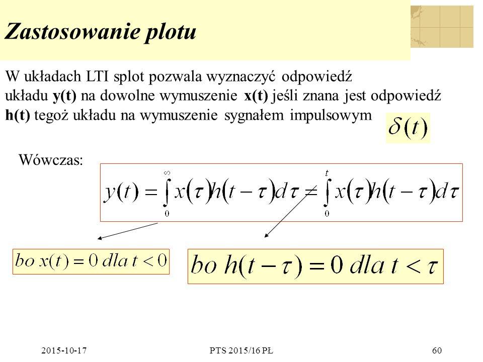 Zastosowanie plotu W układach LTI splot pozwala wyznaczyć odpowiedź
