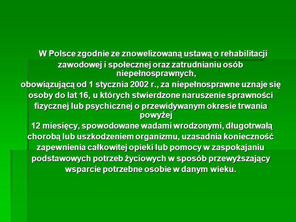 W Polsce zgodnie ze znowelizowaną ustawą o rehabilitacji
