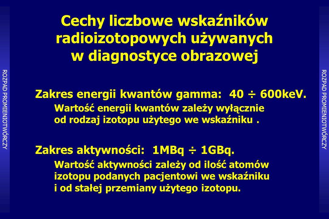 Cechy liczbowe wskaźników radioizotopowych używanych