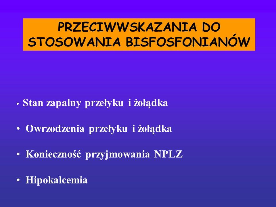 PRZECIWWSKAZANIA DO STOSOWANIA BISFOSFONIANÓW