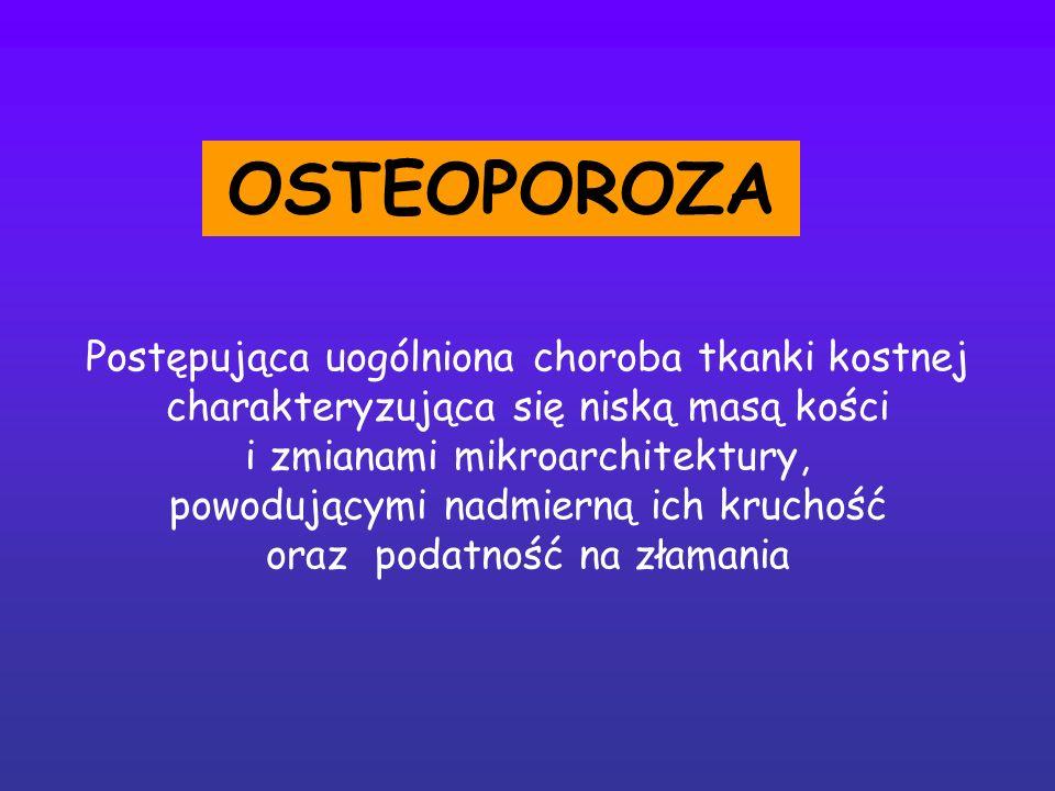 OSTEOPOROZA Postępująca uogólniona choroba tkanki kostnej charakteryzująca się niską masą kości. i zmianami mikroarchitektury,