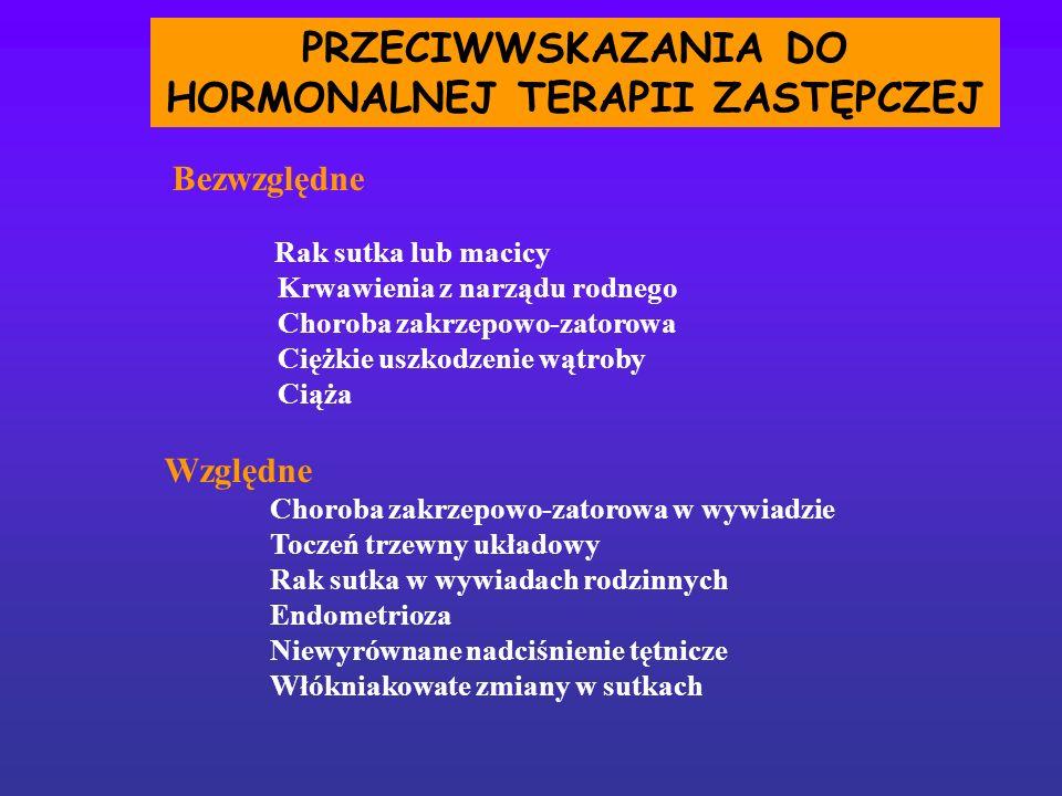 PRZECIWWSKAZANIA DO HORMONALNEJ TERAPII ZASTĘPCZEJ