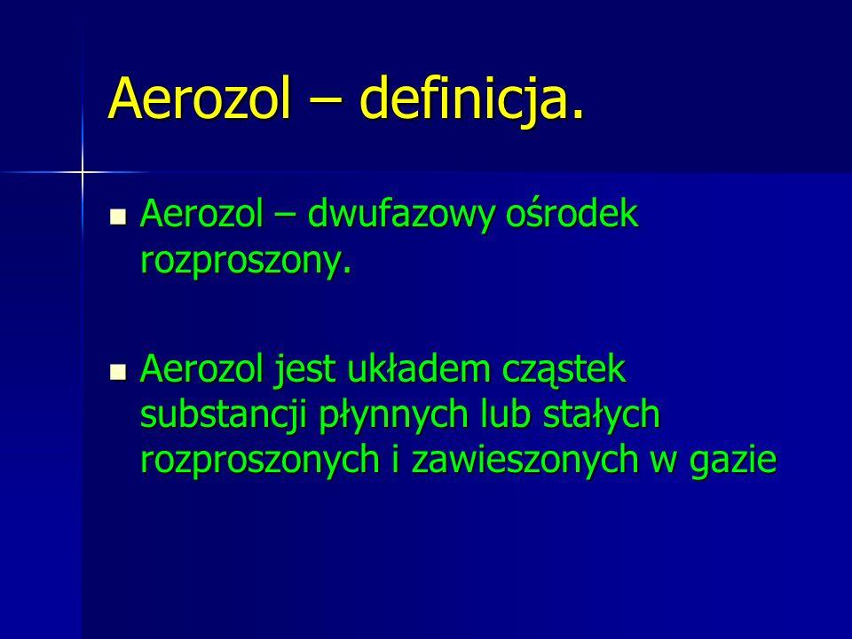 Aerozol – definicja. Aerozol – dwufazowy ośrodek rozproszony.
